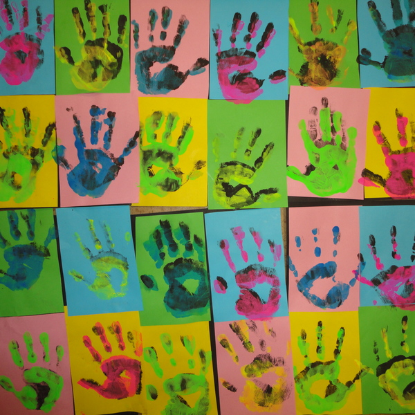 Pop Art Hand Prints by Grasshoppers