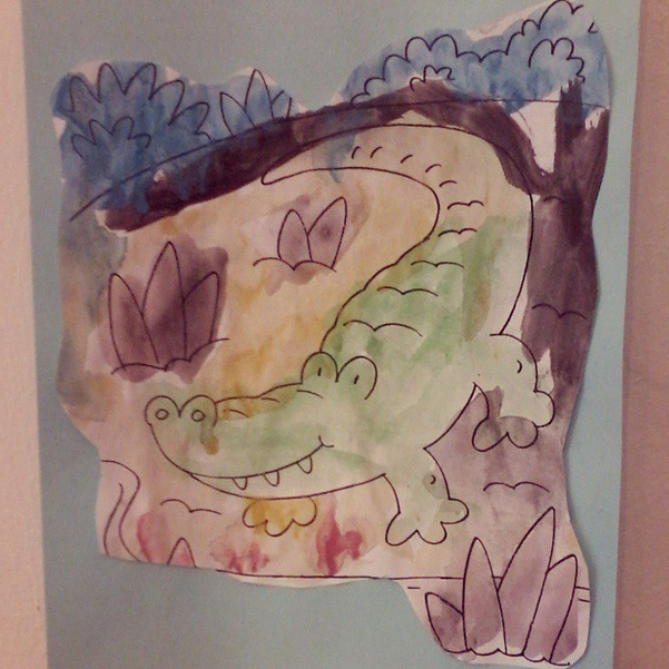 Watercolour Crocodile by Lena